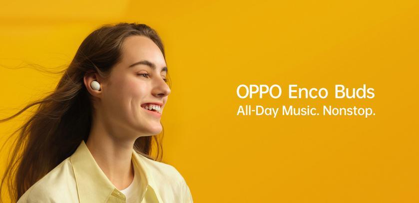 OPPO Enco Buds: TWS-наушники с режимом низкой задержки звука, защитой IP54 и дизайном, как у Galaxy Buds+ за $32