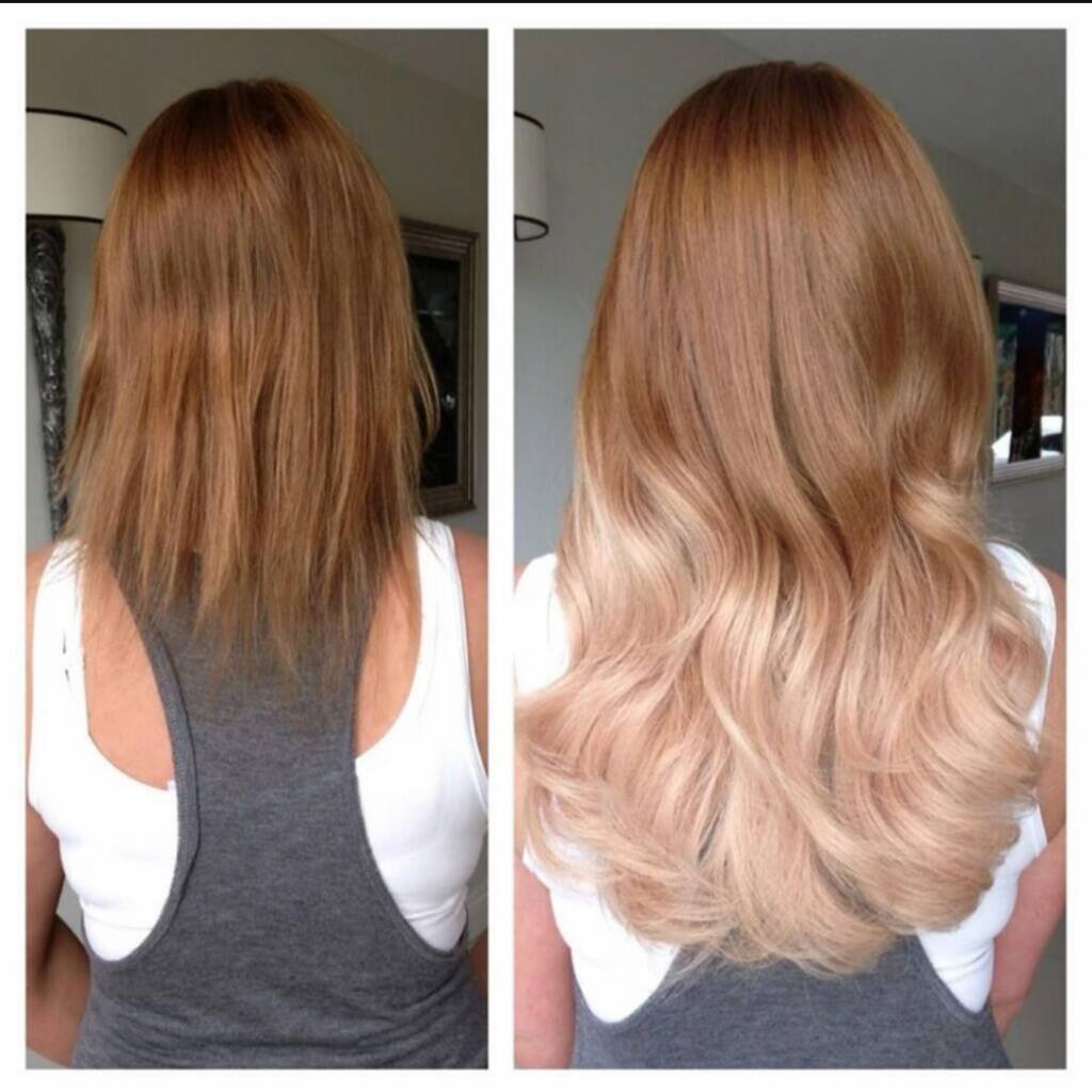Micro hair extensions before and after