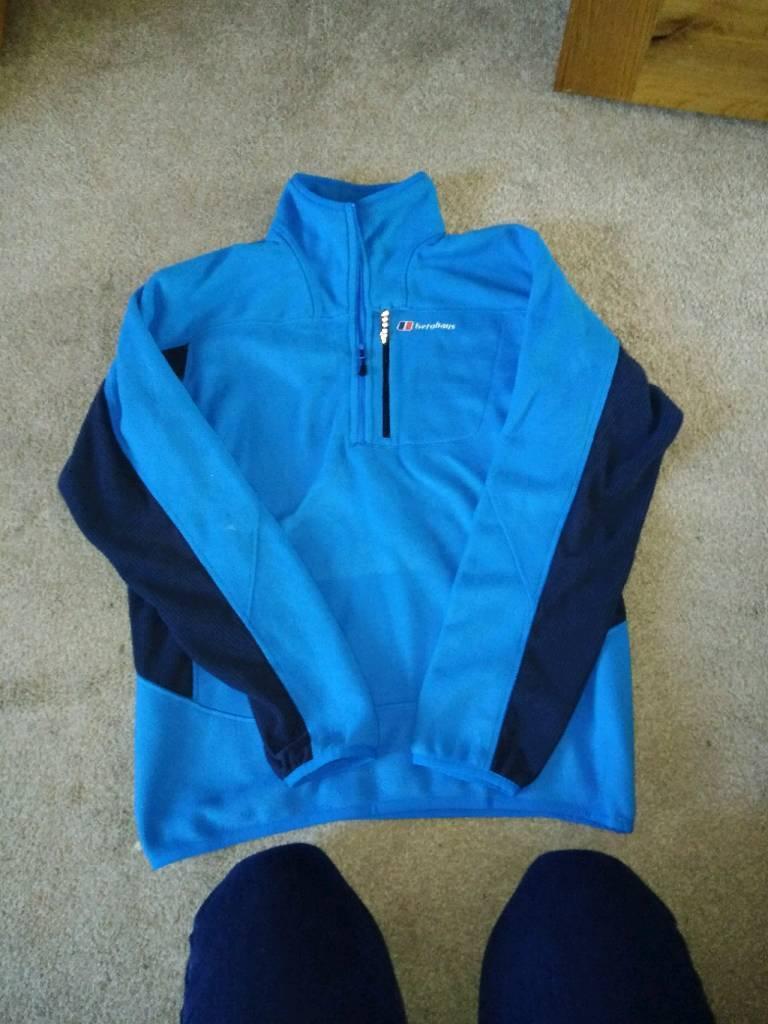 Light blue and dark blue berghaus fleece size medium