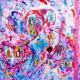 Happy, heilig, angel, Spirit, Gem. techniek op linnen, 100 x 100 cm.