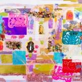 Live, love, life, Gem. techniek op linnen, 100 x 120 cm.
