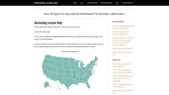 Bartending License Help