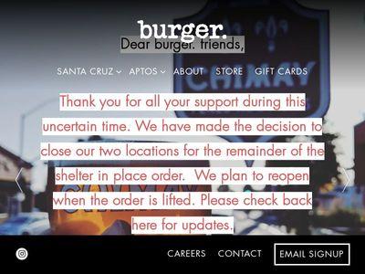 Burger. Santa Cruz and Aptos in California