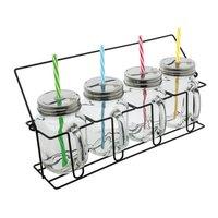 Set aus 4 Gläsern mit Strohhalmen REFLECTS-ARACUJA