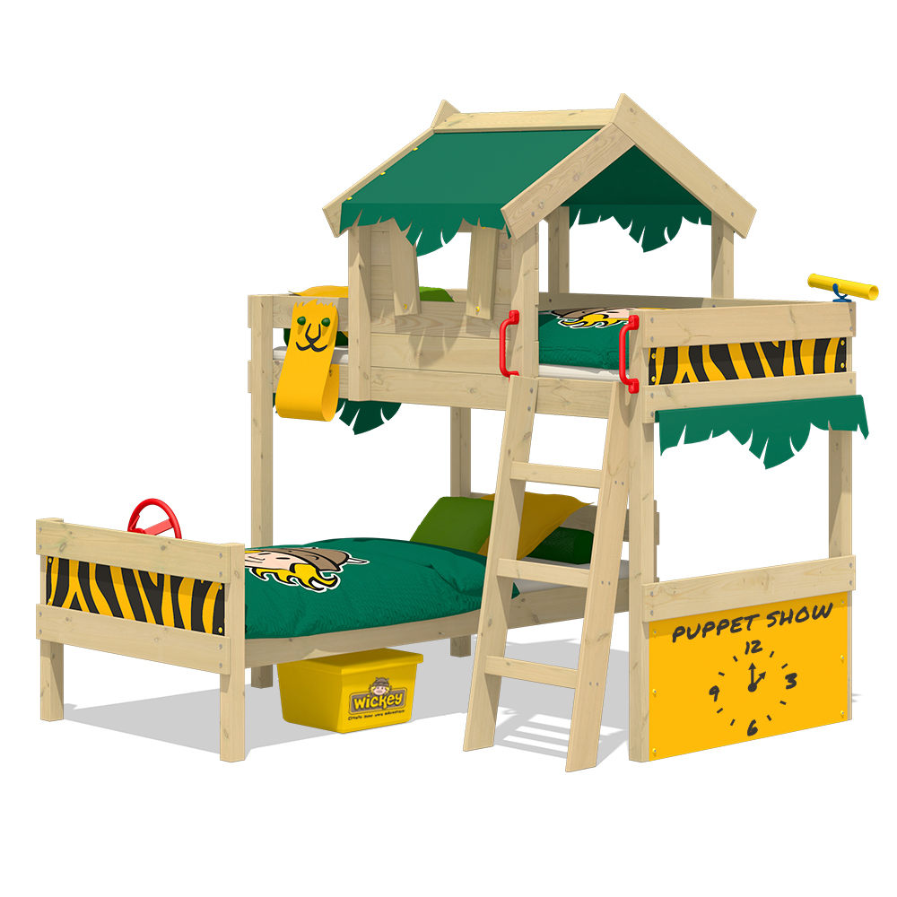 wickey kinderbett hochbett crazy jungle spielbett abenteuer massivholz 90x200 cm ebay. Black Bedroom Furniture Sets. Home Design Ideas