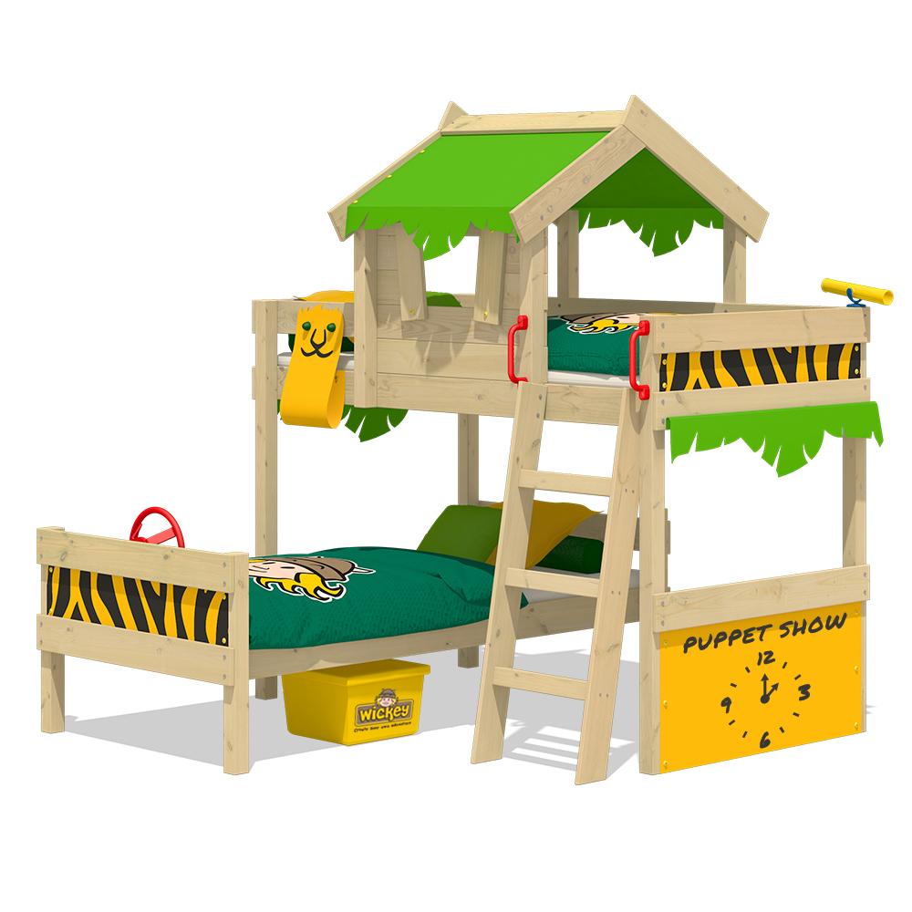 Wickey kinderbett hochbett crazy jungle spielbett for Kinderbett massivholz 90x200
