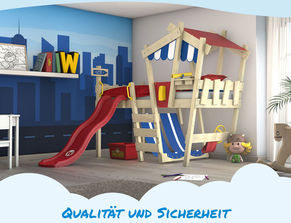 wickey kinderbett hochbett spielbett mit dach crazy hutty etagenbett mit rutsche ebay. Black Bedroom Furniture Sets. Home Design Ideas