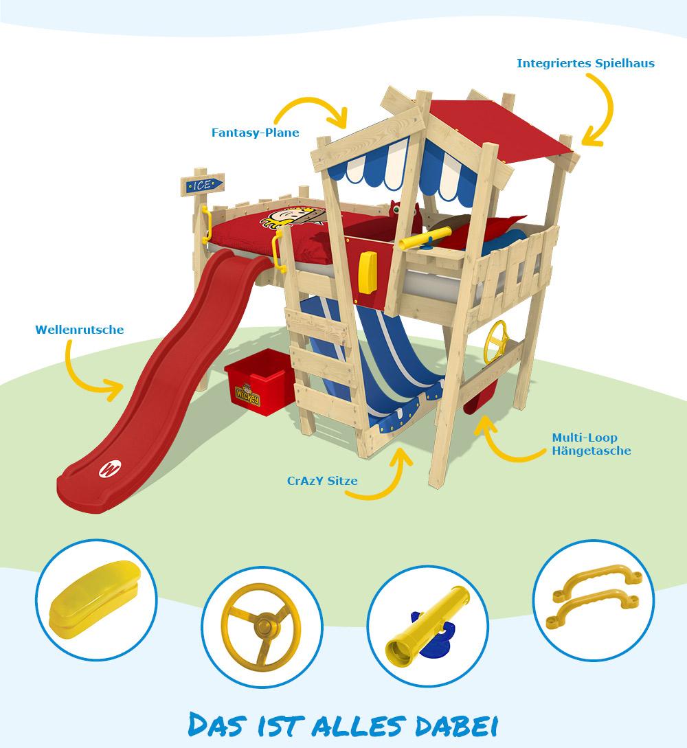 wickey kinderbett spielbett hochbett crazy hutty etagenbett mit rutsche 90x200cm ebay. Black Bedroom Furniture Sets. Home Design Ideas