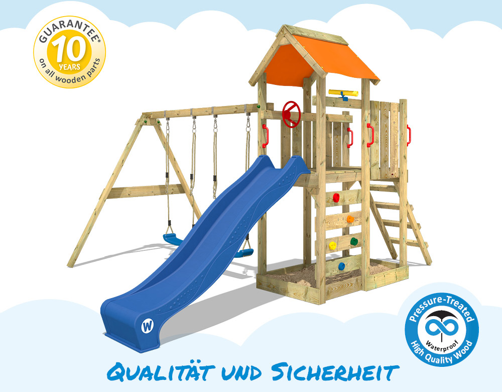 wickey multiflyer spielturm doppelschaukel sandkasten holz kletterturm garten 4250533906560 ebay. Black Bedroom Furniture Sets. Home Design Ideas