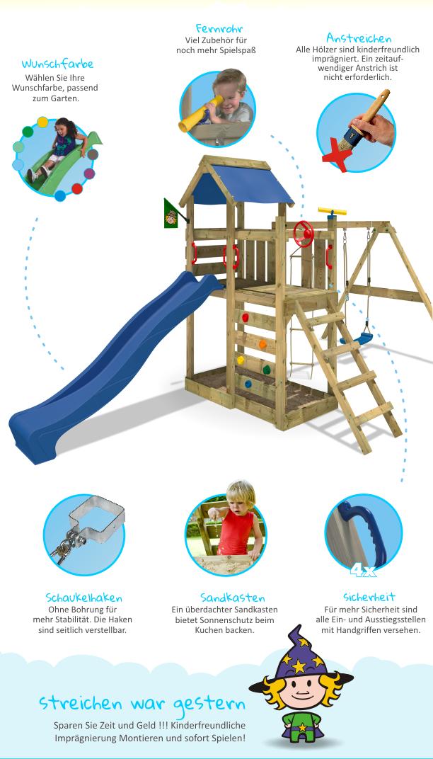 wickey multiflyer spielturm spielhaus kletterturm schaukel blaue rutsche garten ebay. Black Bedroom Furniture Sets. Home Design Ideas