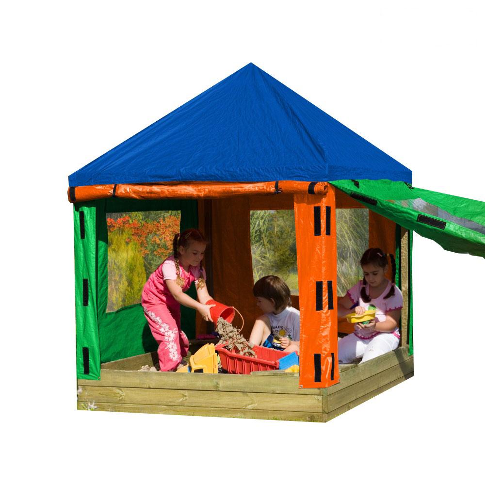 Sandkasten Mit Dach Absenkbar Kinder Metradirektde: Sandkasten Toni Nils Mit Plane Dach Kinderpavillon