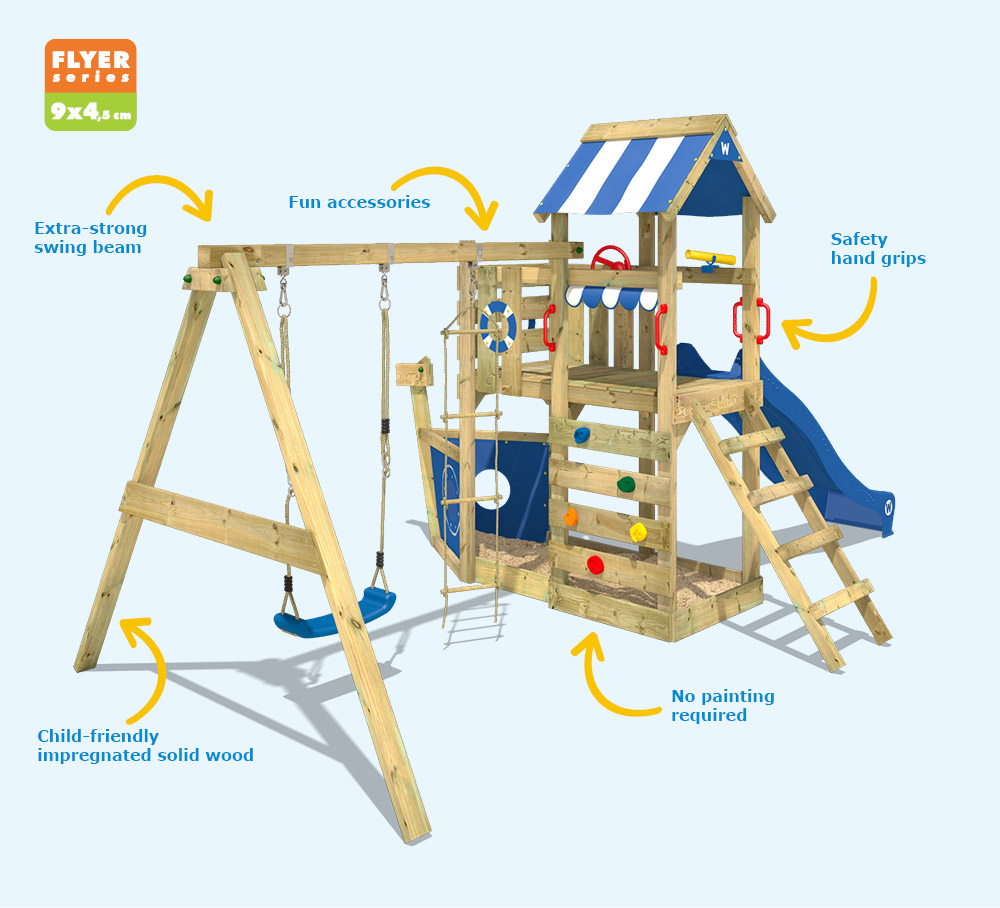 Wickey Seaflyer Climbing Frame Outdoor Wood Swing Set Blue