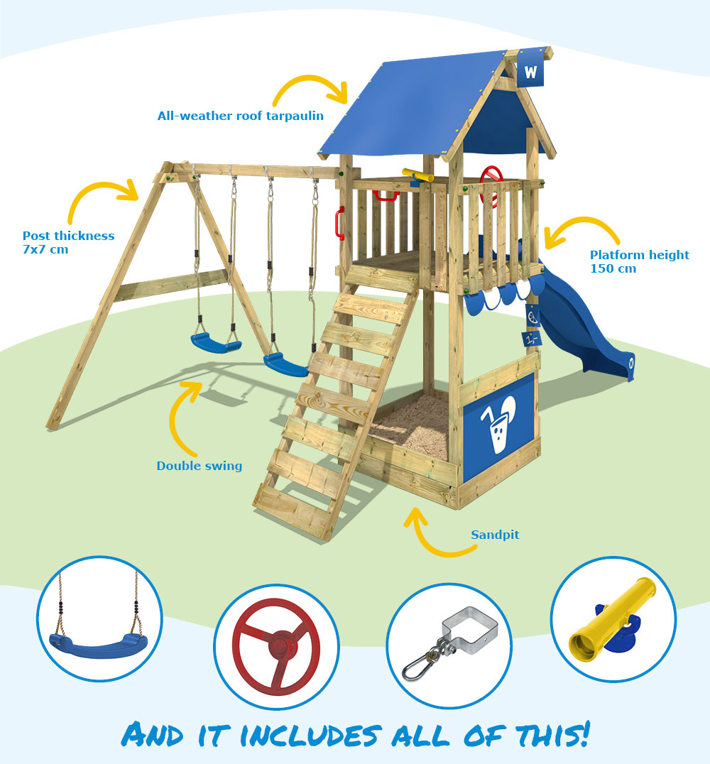 Wickey Smart Shelter Wooden Climbing Frame Swing Slide
