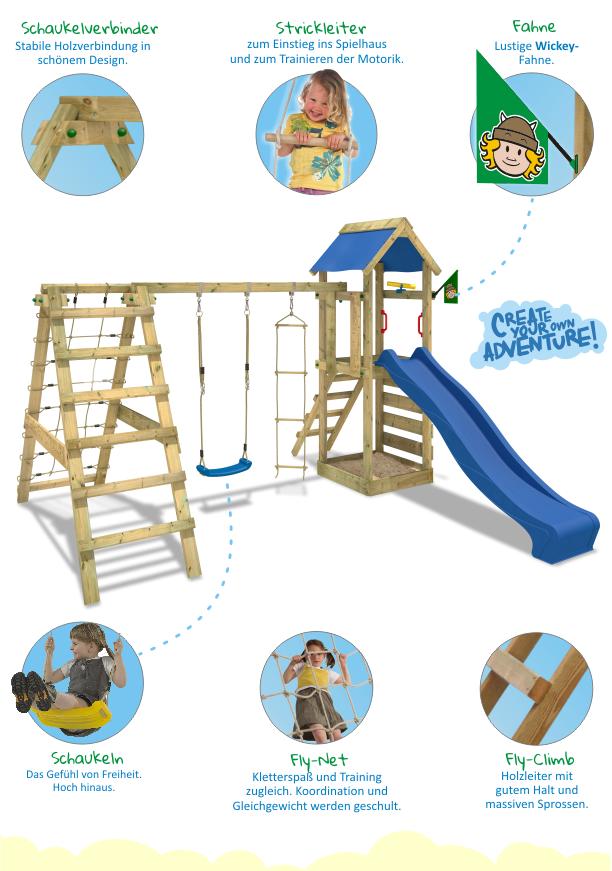wickey starflyer spielturm kletterturm sandkasten blaue rutsche schaukel garten ebay. Black Bedroom Furniture Sets. Home Design Ideas