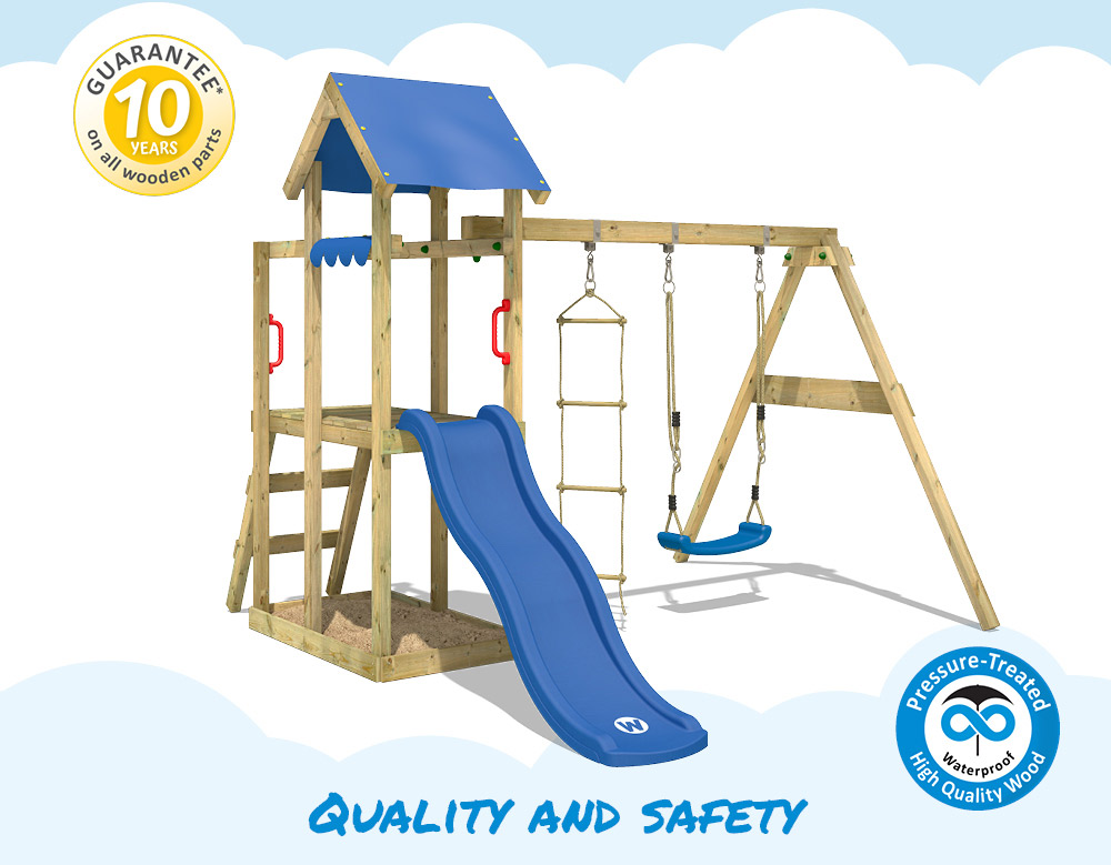 Wickey Tinyplace Climbing Frame With Swing And Green Slide
