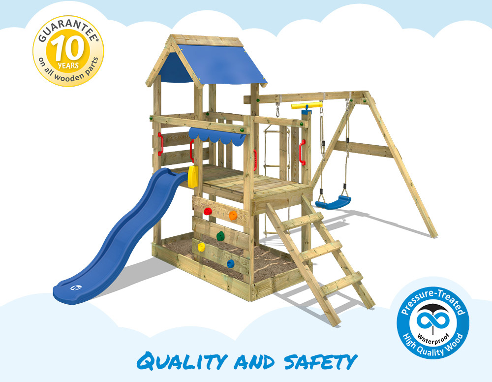Wickey Turboflyer Climbing Frame Outdoor Wood Swing Set