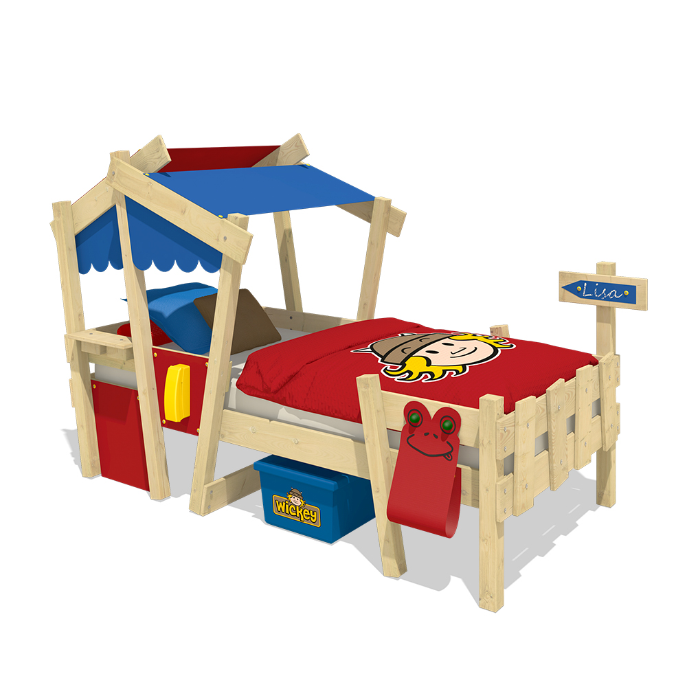 wickey kinderbett mit dach crazy candy spielbett abenteuerbett massivholz ebay. Black Bedroom Furniture Sets. Home Design Ideas