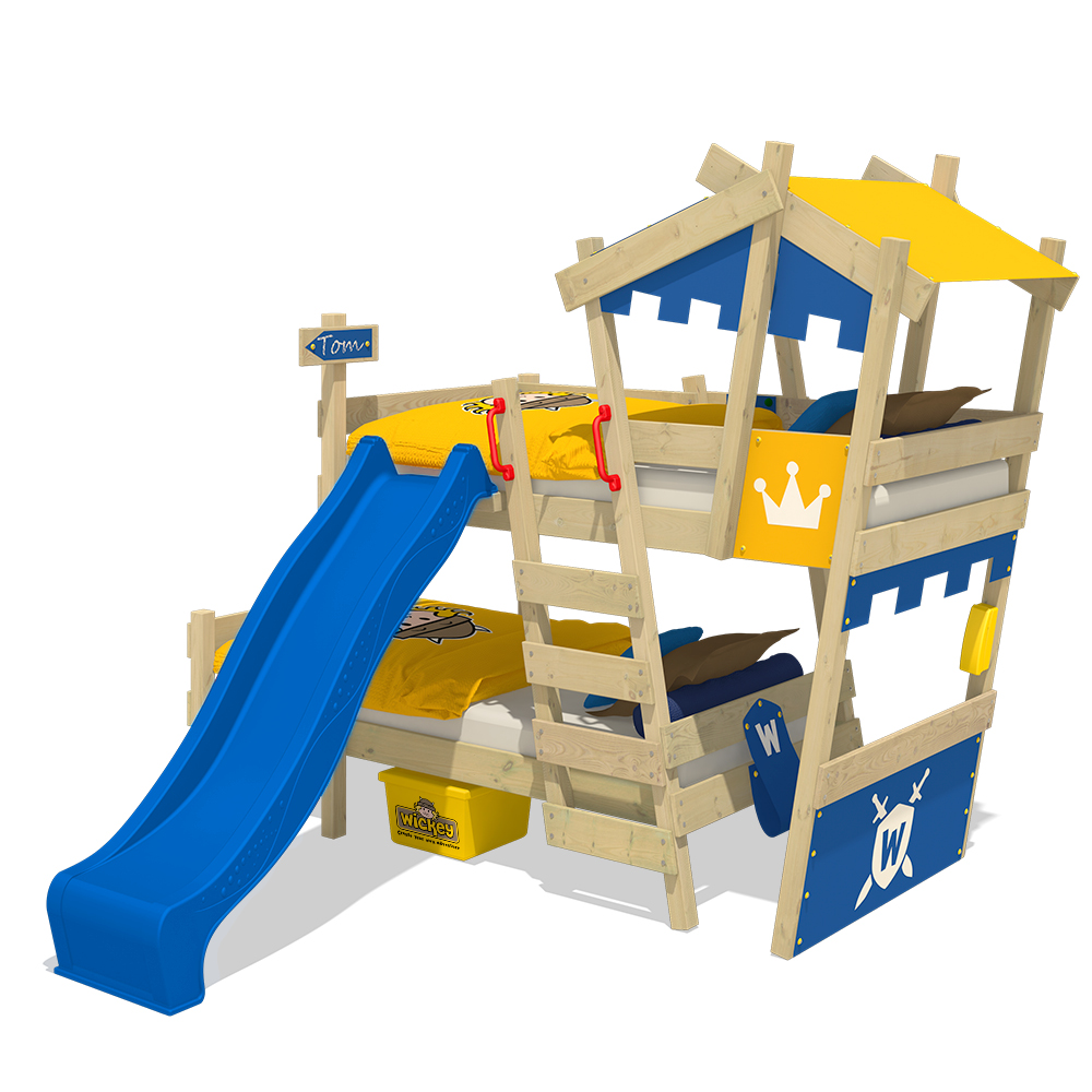 Wickey lit superpos avec toboggan crazy castle lit enfant lit cabane ebay - Lit superpose avec toboggan ...
