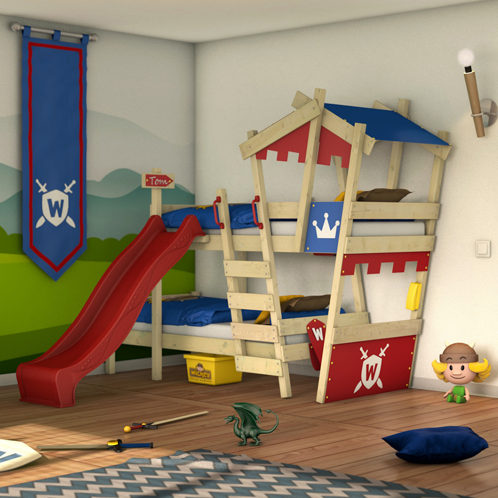 wickey lit superpos avec toboggan crazy castle lit enfant lit cabane ebay. Black Bedroom Furniture Sets. Home Design Ideas