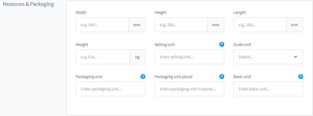 Afmetingen en Verpakkingen