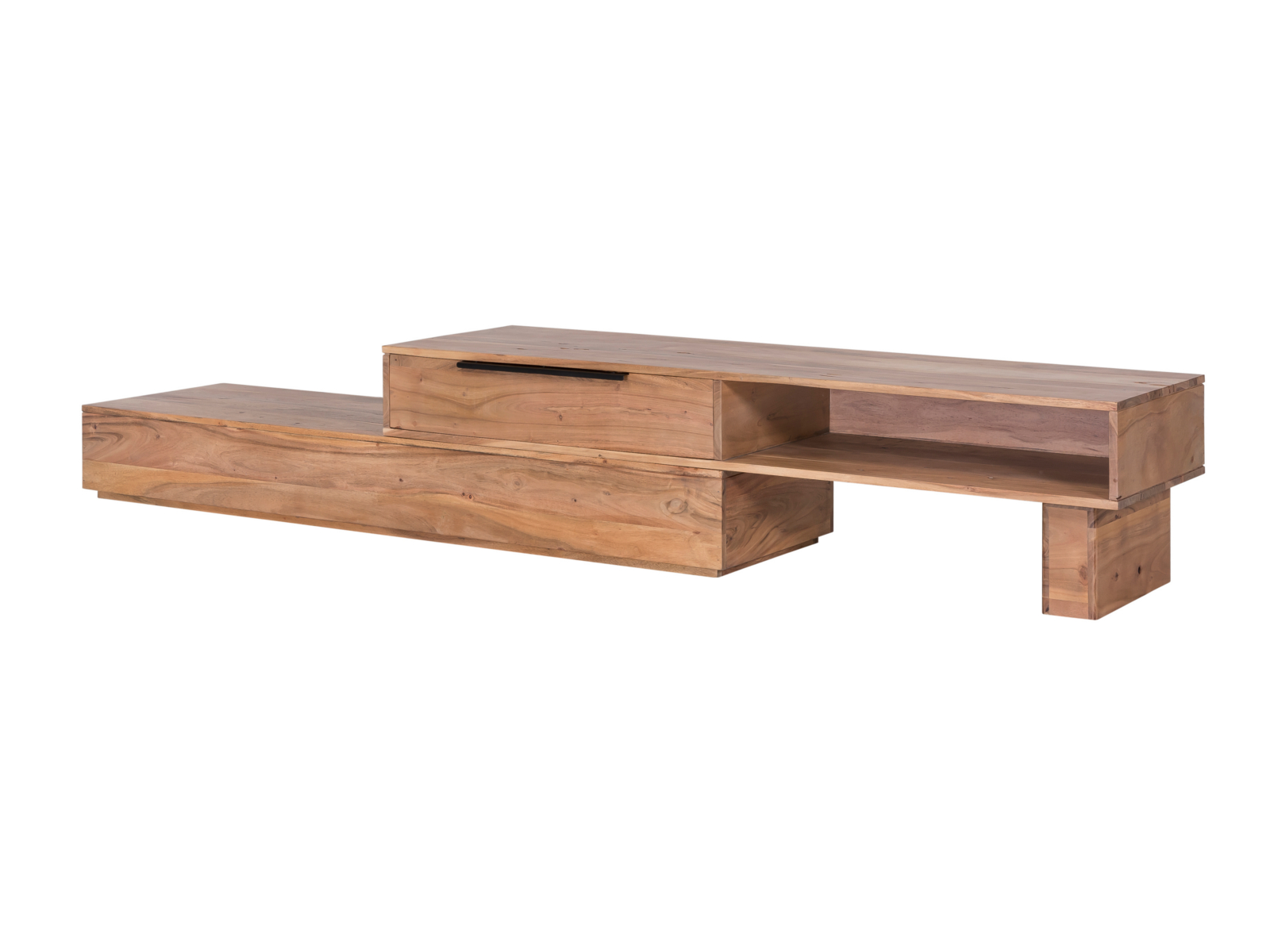 tv bank auckland variabel lowboard akazie massiv holz fernsehbank fernsehtisch ebay. Black Bedroom Furniture Sets. Home Design Ideas