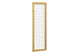 Betonijzertrellis met maas 7,5 x 7,5 cm, in grenen raamwerk 4,4 x 6,8 cm, 60 x 180 cm.