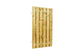 Geschaafde plankendeur grenen op verstelbaar stalen frame 90 x 180 cm, recht, groen geïmpregneerd.