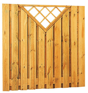 Geschaafd plankenscherm grenen 21-planks 17 mm 180 x 180 cm, verticaal recht met trellis.