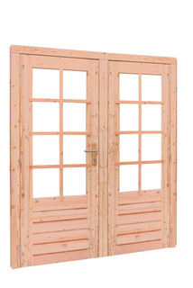 Douglas dubbele 8 ruits deur inclusief kozijn. 169 x 201,5 cm, onbehandeld.