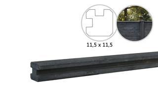 Betonpaal glad met vellingkant, v.z.v. sleuf, 11,5 x 11,5 x 280 cm, antraciet, hoekpaal.