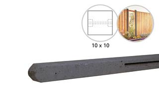 Betonpaal stampbeton 10 x 10 x 310 cm, antraciet tussenpaal t.b.v. recht scherm met 2 betonplaten.