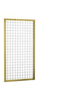 Eco gaastrellis met maas 7,5 x 7,5 cm, in grenen raamwerk 4,5 x 4,5 cm, 90 x 180 cm, groen geïmpregneerd.