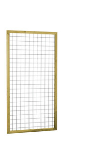 Eco gaastrellis met maas 7,5 x 7,5 cm, in grenen raamwerk 4,5 x 4,5 cm, 90 x 180 cm.