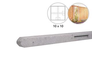 Betonpaal stampbeton 10 x 10 x 280 cm, grijs hoekpaal t.b.v. recht scherm.