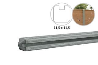 Betonpaal met sleuf 11,5 x 11,5 x 278 cm, grijs eindpaal, ongecoat