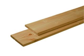 Douglas plank 1 zijde geschaafd, 1 zijde fijnbezaagd 2,8 x 19,5 x 300 cm, groen geïmpregneerd.