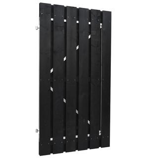 Geschaafde plankendeur grenen op verstelbaar stalen frame 100 x 180 cm, recht, zwart gedompeld