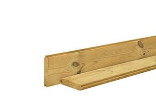 Blokhutplank 2,6 x 14,5 x 180 cm, groen geïmpregneerd.