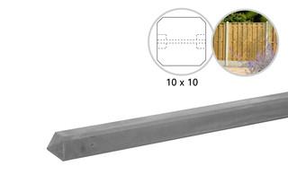 Betonpaal glad met diamantkop 10 x 10 x 310 cm, grijs ongecoat, tussenpaal t.b.v. 2 betonplaten.