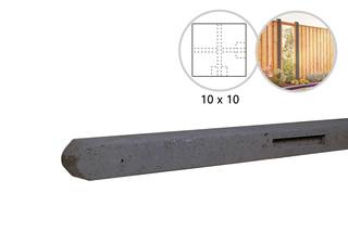 Betonpaal stampbeton 10 x 10 x 280 cm, antraciet hoekpaal t.b.v. recht scherm.