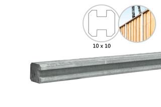 Betonpaal glad met vellingkant, v.z.v. sleuf, 10 x 10 x 270 cm, wit/grijs, ongecoat, tussenpaal.