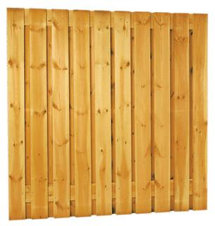 Geschaafd plankenscherm grenen 21-planks 17 mm 180 x 180 cm, verticaal recht, groen geïmpregneerd.
