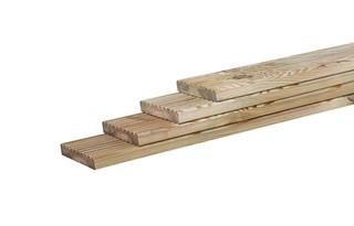 Grenen geprofileerd dekdeel, 1 zijde grof, 1 zijde fijn profiel, 2,8 x 14,5 x 300 cm.