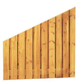 Geschaafd plankenscherm grenen 21-planks 17 mm 180 x 180/90 cm, verticaal recht aflopend.