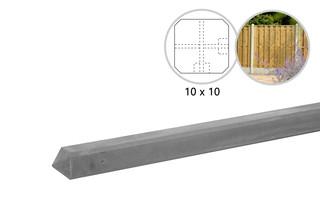 Betonpaal glad met diamantkop 10 x 10 x 310 cm, grijs ongecoat, hoekpaal t.b.v. 2 betonplaten.