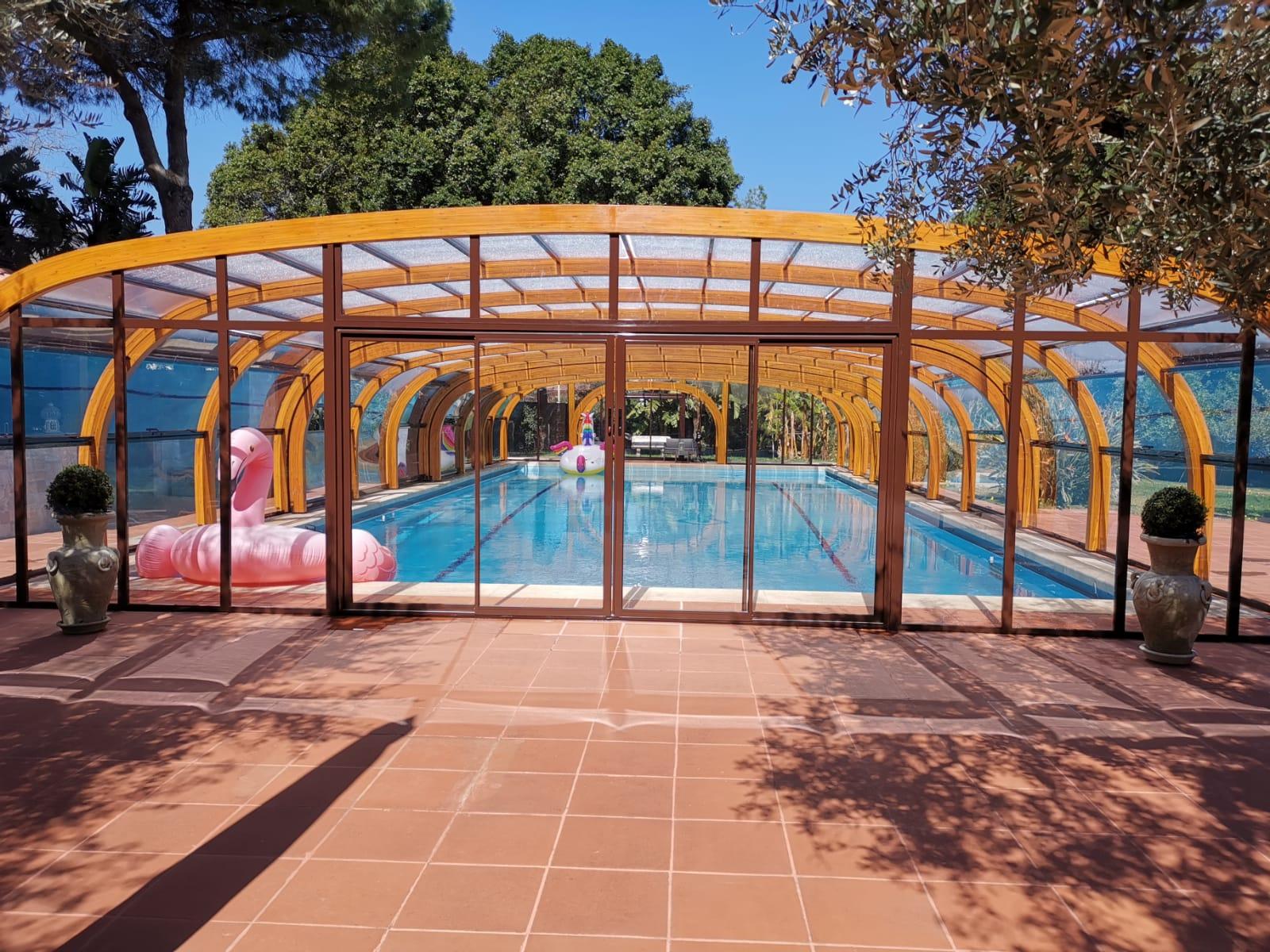 Copertura piscina alta legno