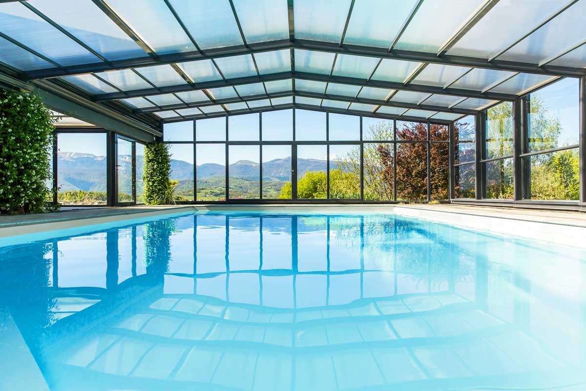 Copertura piscina alta murale alluminio