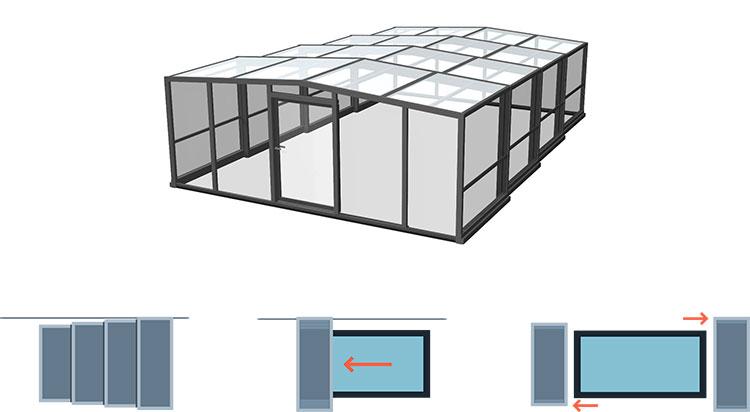 Copertura alta piscina alluminio