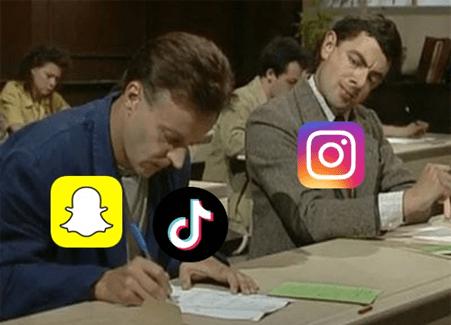 Instagram copia da Snapchat e TikTok meme mr Bean