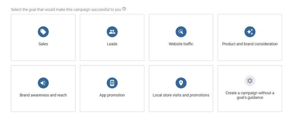 Selezione obiettivo dynamic search ads google